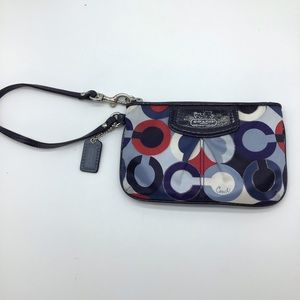 COACH red/white/blue signature Charlie C wristlet